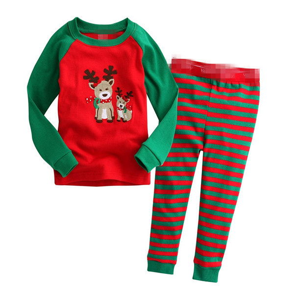 2019 Christmas Kids   pajamas   Children clothes   set   Little boys pyjamas girls Sleepwear cartoon long sleeve Tops+Pants 2 Pieces