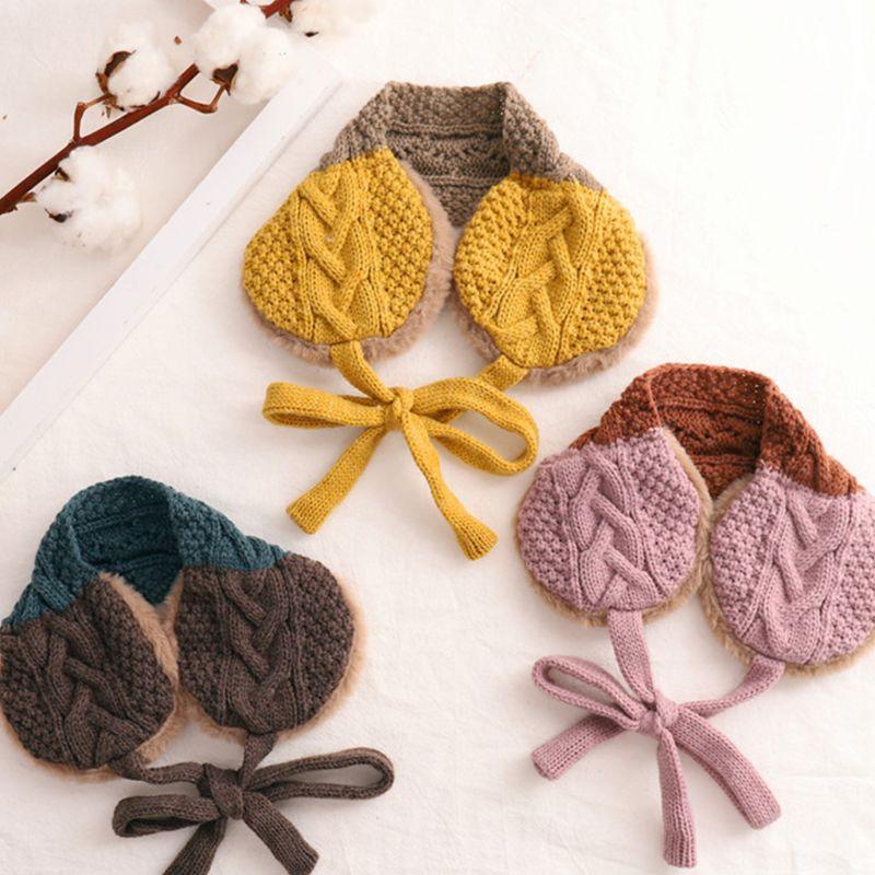 Fashion Lovely Girls Boys Earmuffs Wool Thread Children Dual-use Knitted Scarf 95AB