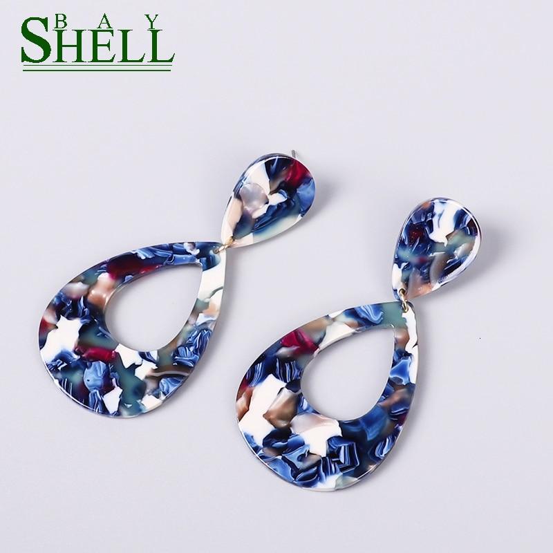 Shell Bay new Acrylic Earrings For Women Bohemian Earrings Fashion Statement ZA Resin Pendientes Brincos Female gift Jewelry