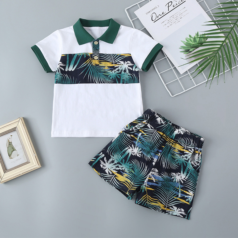 newest summer short sleeve pullover tops t-shirts print shorts kids baby boys clothing set 2pcs toddler casual costumes 12M-5Y