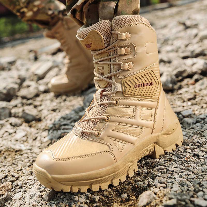 Fhlyiy Merk Militaire Tactische Heren Laarzen Speciale Kracht Lederen Desert Combat Enkellaars Leger Werk Men'S Schoenen Plus Size 39 -47