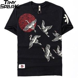 Image 3 - 2019 Japanese Streetwear T Shirt Crane Sun Print Mens Harajuku T Shirt Summer Hip Hop Tshirt Cotton Short Sleeve Tops Tees Black