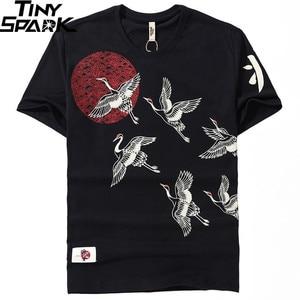 Image 3 - 2019 Japanese Streetwear T Shirt 크레인 썬 프린트 Mens 하라주쿠 티셔츠 여름 힙합 티셔츠 코튼 반팔 티셔츠 블랙