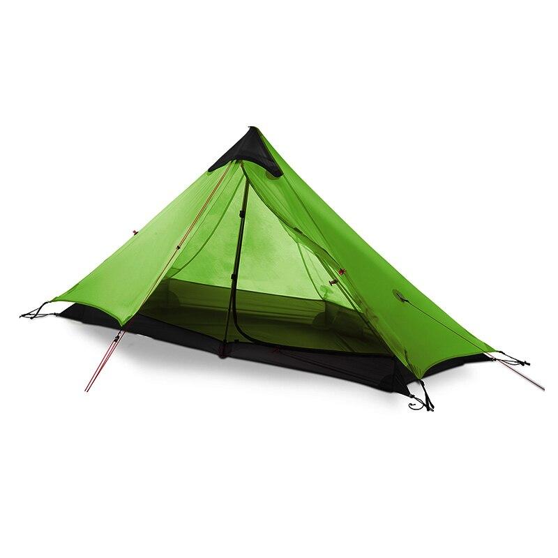 3f ul engrenagem 1 pessoas oudoor ultraleve barraca de acampamento 3 temporada 1 única pessoa profissional 15d silicone revestimento sem haste tenda