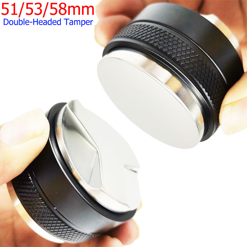 304 Stainless Steel 51/53/58mm Dual Sided Coffee Tamper 3 Angled Slopes and Flat Base, Espresso Coffee Porfilter Filter