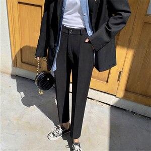 Свободные однотонные Асимметричные стройные уличные брюки большого размера с высокой талией, подходящие ко всему прямые брюки-карандаш