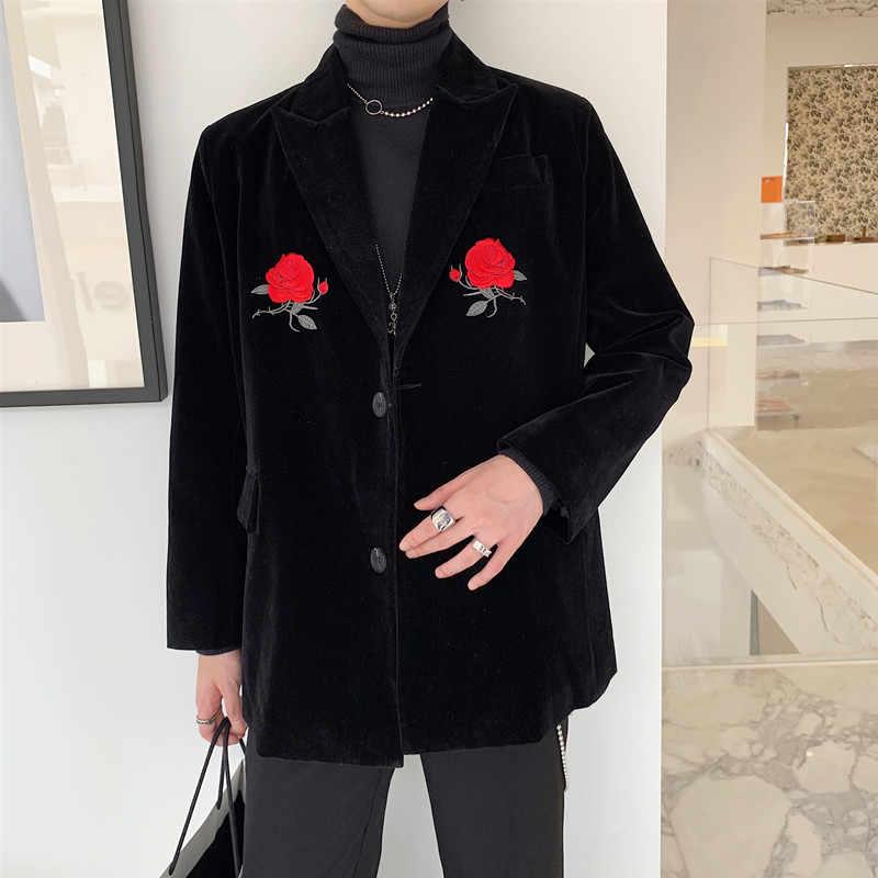 ローズ刺繍レトロブレザー男性カジュアルなベルベットのスーツジャケットブランドファッションメンズカジュアル黒ブレザー男性服高品質