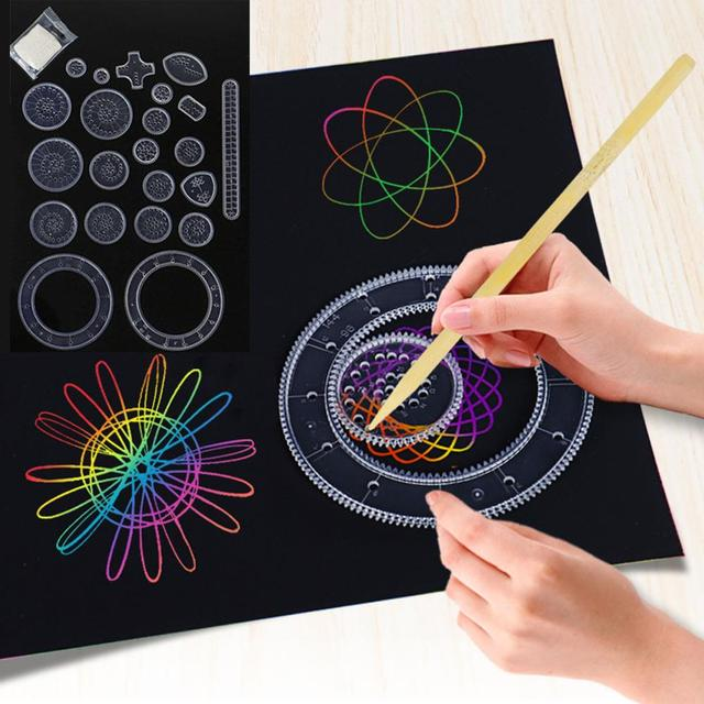 22pcs Spirograph Drawing toys set Interlocking Gears Wheels Drawing Accessories Creative Educational Toy For children