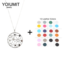 Cremo Stainless Steel Chain Necklace Round Star Pendant Interchangeable Leather For Women Necklaces & Pendants