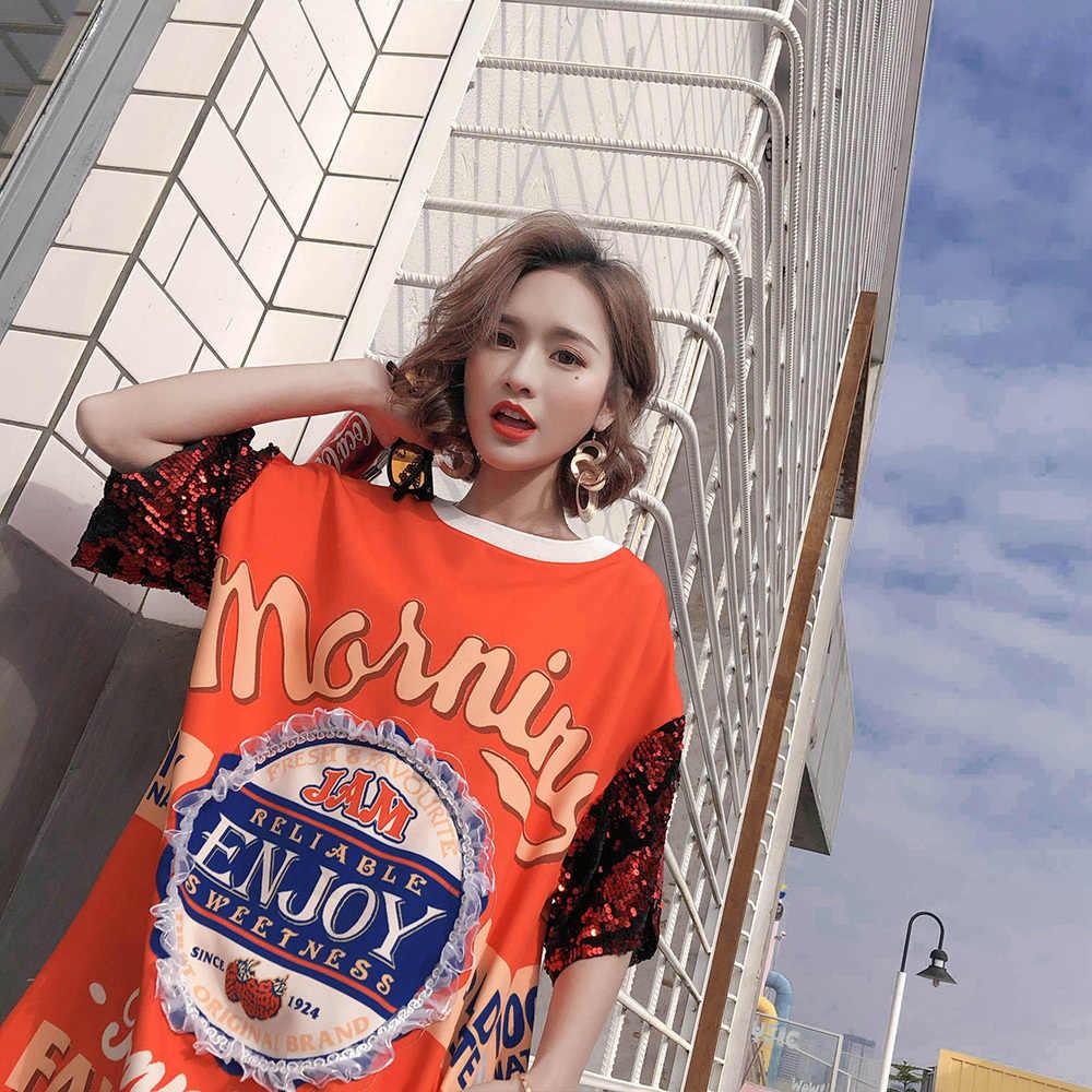 Zomer 2020 Hip Hop Pailletten T-shirt Korte Mouw Vrouwen Lettre Print Top Tees Ulzzang Zwarte Punk Kleding Plus Size YZH07