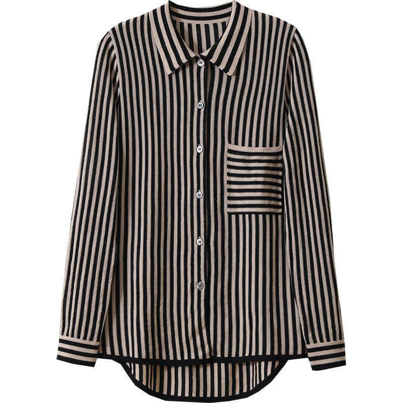 뜨개질 카디건 코트 여성 짧은 단락 2020 봄 새로운 느슨한 양모 셔츠 줄무늬 셔츠 스웨터
