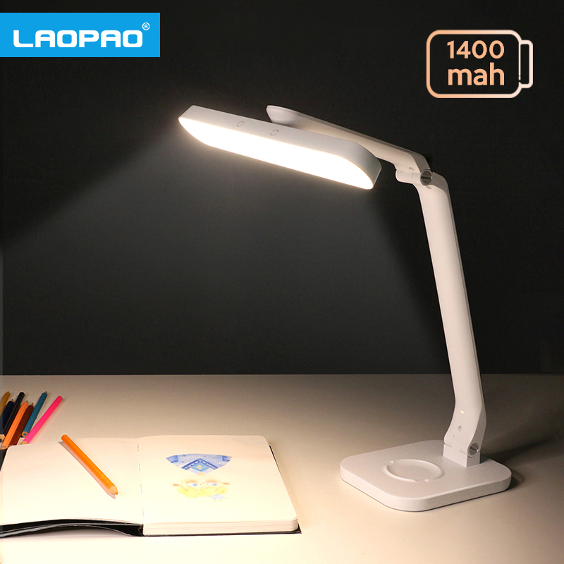 LED Desk Lamp Foldable Stepless Dimming 360 Degree Rotatable Touch 5 color DC5V 1400mAh USB Recharge Eye Protect Table Light