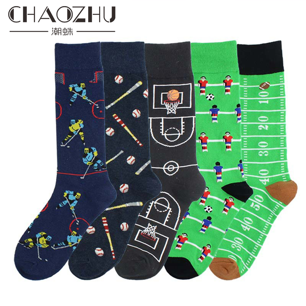 CHAOZHU Men's Fashion Socks Football Hockey Rugby Basketball Baseball Crew Cartoon Athletics Autumn Winter Male Long Calcetines