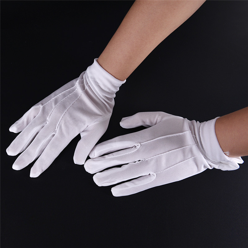 1Pair  White Cotton Inspection Work Gloves Household Gloves Coin Jewelry Lightweight Gloves Serving/Waiters/drivers