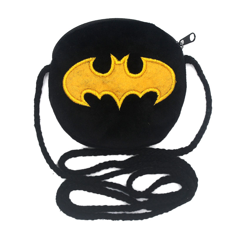 New Baby Girls Mini Messenger Bag Cute Plush Cartoon Batman Boys Small Coin Purses Children Handbags Kids Shoulder Mini Bags