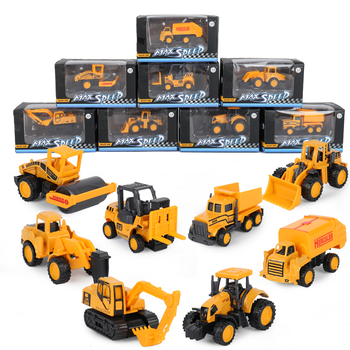 Auto Car Diecast Model Forklift Excavator Dumper Tractor Street Truck Rubber Wheel Action Accessory Toys For Kids image