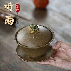 Yixing Raw Ore Manual Tureen Old Section Mud Three Talents Bowl Literati Yixing Hear Rain Teacup Teacup 200 Milliliter Tea Set