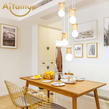 Modern LED Pendant Lights For Dining Room Wooden Lamp Round Suspension Restaurant Lighting Hanging Ceiling