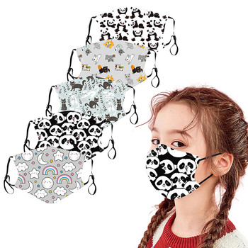 5PC Children Outdoor Cotton Printed Mask Reusable Fabric Dustproof and breathable Fashionable Neutral Washable Face Mask Reusabl image