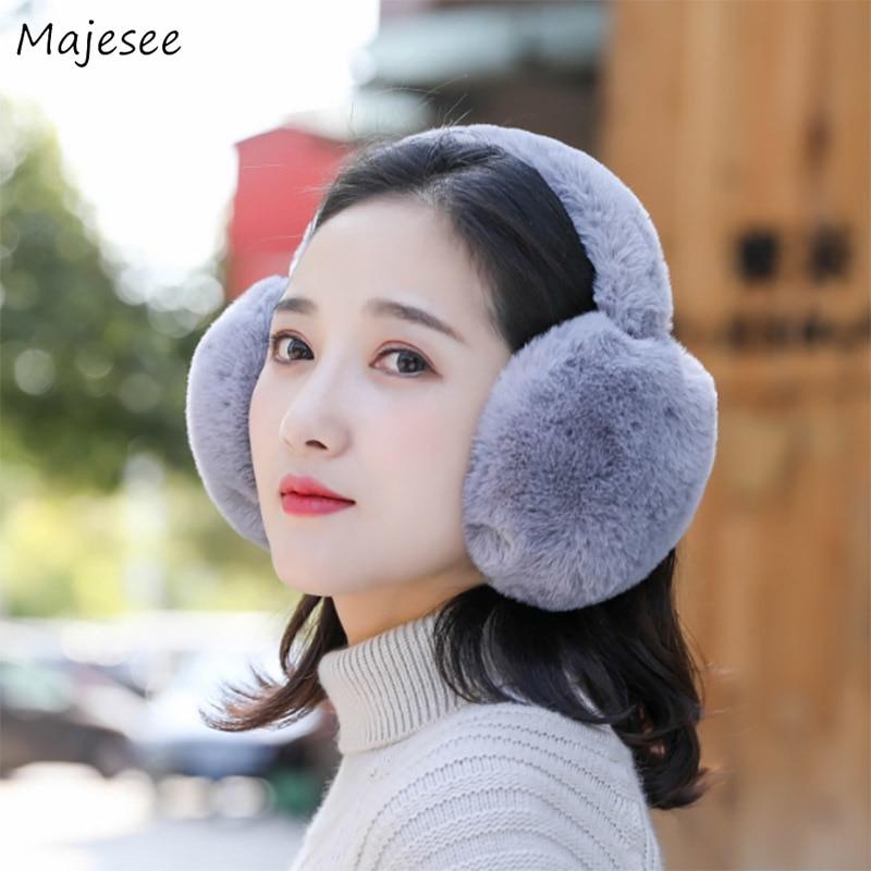 Earmuffs Women Winter Warm Soft Thick Solid Simple Womens Ear Warmer Korean Style All-match Chic Fashion Females Causal Girls
