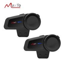 Pilotos 2PCS Maxto M2 6 À Prova D Água 1000M Bluetooth5.0 FM MP3 Casco Do Capacete Da Motocicleta Intercom Intercomunicador Telefones fone de Ouvido