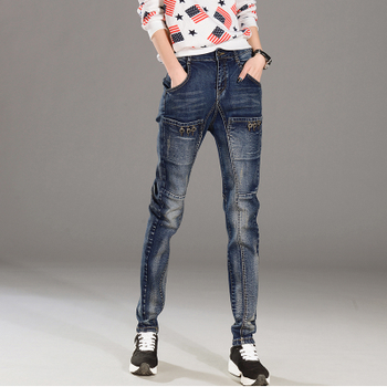 Autumn Denim Harem Pants Women Big Pockets Washed Jeans Female Vintage Ladies boyfriend jeans students Loose Streetwear Trousers фото