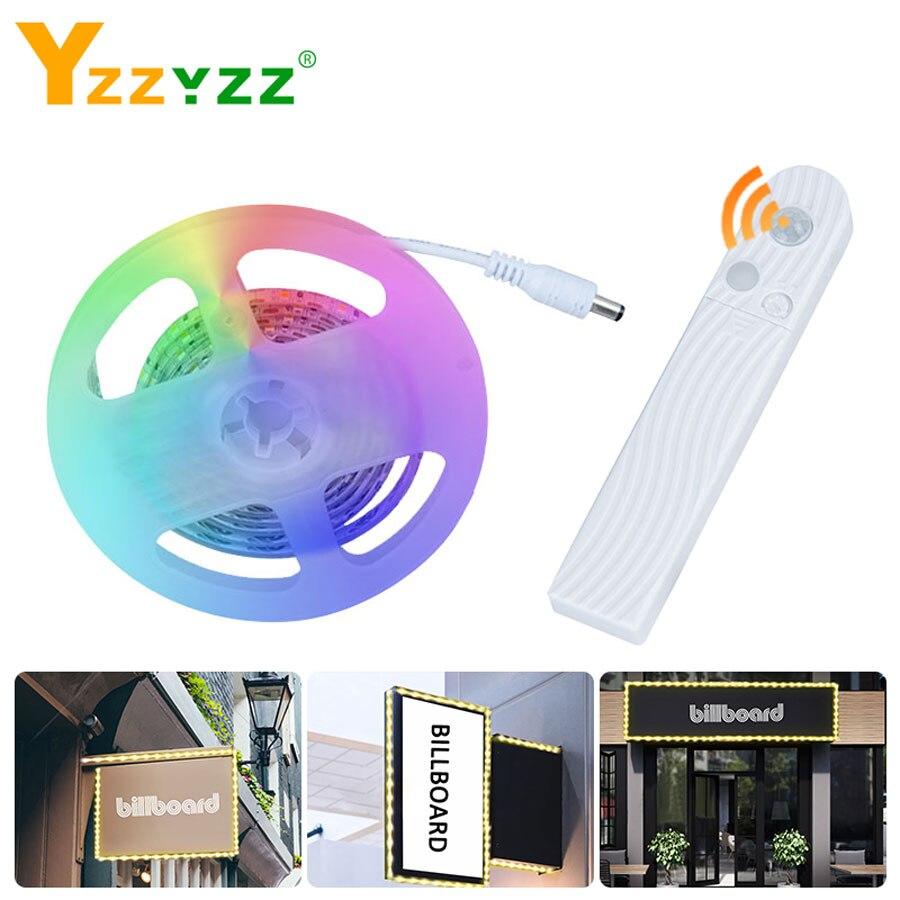 5V Battery Led Advertising Light Strips 1m 2m 3m Wireless PIR Sensor Motion Flexible Diode Tape LED Strip For Advertisement Lamp