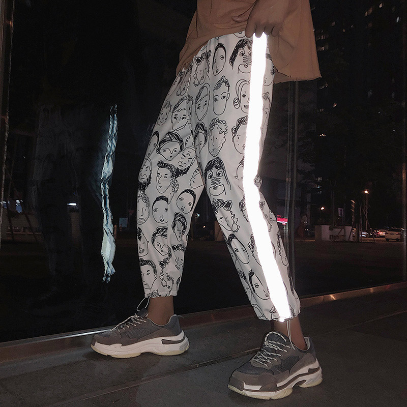 Pants Female 2019 New Loose Korean Wild Student Wind Hip Hop Casual Pants Elastic Waist Trend Harem Pants Big Size