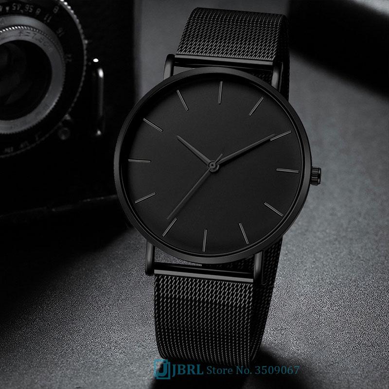 Black Wrist Watch Men Watches Business Simple Dial Wristwatch Stainless Steel Male Quartz Watch For Men Clock Hours  Hodinky Man