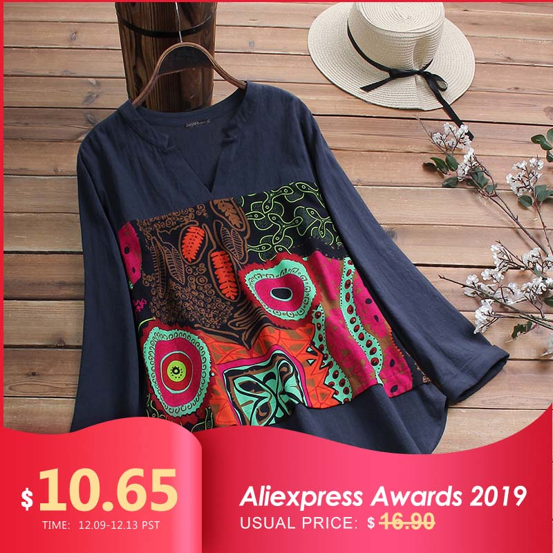 2019 ZANZEA Casual Cotton Blouse Women V Neck Long Sleeve Tunic Tops Autumn Vintage Printed Patchwork Loose Shirts Female Blusas