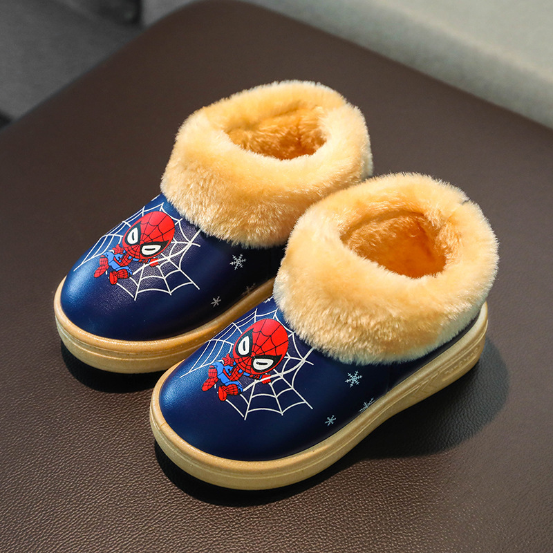 Winter Kids Slippers For Boys Spiderman Shoes Pu Waterproof Plush Warm Girls Cartoon Cotton Indoor Flip Flop House Baby Slippers