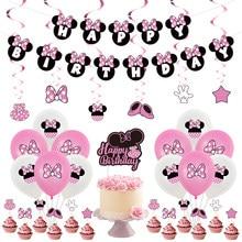 Rosa minnie mouse balões festa de aniversário decoração do chuveiro do bebê crianças festa de aniversário banner bolo topers balão de ar globos