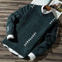2020 мужской повседневный осенний Модный повседневный полосатый цветной трикотажный джемпер пуловер свитер распродажа мужские свитера из х...