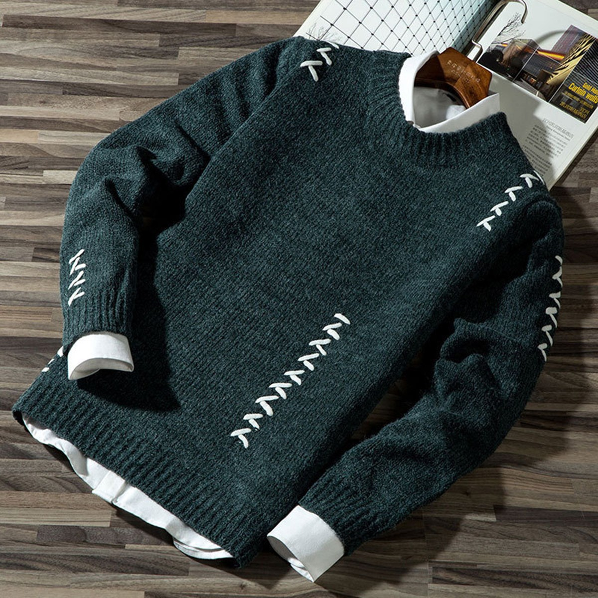 Mens Sweaters Pullover Knitwear Jumper Color-Block Casual Fashion Cotton Autumn title=