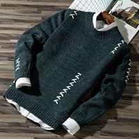 2020 hommes décontracté automne mode décontracté bande couleur bloc tricots pull pull vente matériel coton hommes chandails