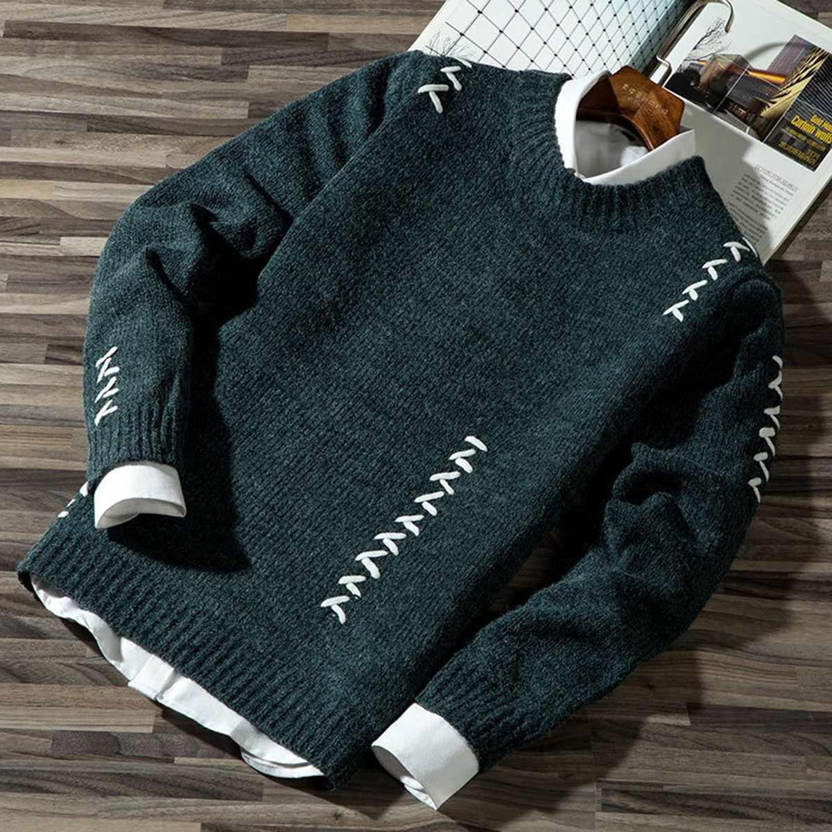2020 남자 캐주얼 가을 패션 캐주얼 스트립 컬러 블록 니트 점퍼 풀오버 스웨터 판매 소재 코튼 남성 스웨터