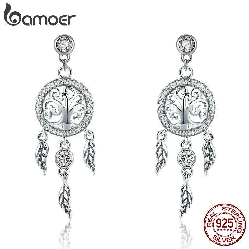 BAMOER Fashion 925 Sterling Silver Tree of Life Dream Catcher Drop Earrings for Women Vintage Sterling Silver Jewelry SCE457Earrings   -