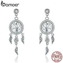 BAMOER Mode 925 Sterling Silber Baum des Lebens Traum Catcher Tropfen Ohrringe für Frauen Vintage Sterling Silber Schmuck SCE457