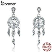 BAMOER moda 925 ayar gümüş hayat ağacı Dream Catcher bırak küpe kadınlar için Vintage gümüş takı SCE457
