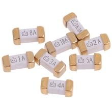 10 Pcs/lot Gold Foot 1808 125V SMD Fast Blow Fuse 0.5A 0.75A 1A 2A 3A 4A 5A 6.3A 8A 10A  0451 Ultra-rapid Fuses