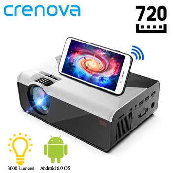 CRENOVA-miniproyector LED G08, 1280x720P, 3000 lúmenes, Android, Proyector WIFI para teléfono, compatible con Proyector de vídeo en Casa 4K 3D