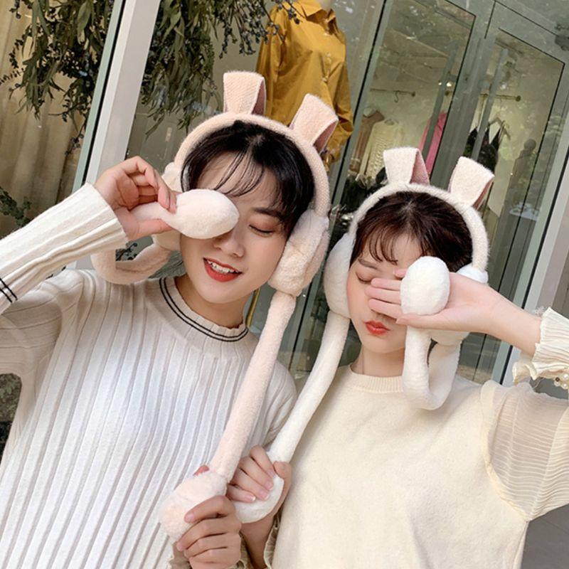 THINKTHENDO Rabbit Girls Ear Muffle Movable Plush Cover Cute Bunny Head Wear Warmer For Lady
