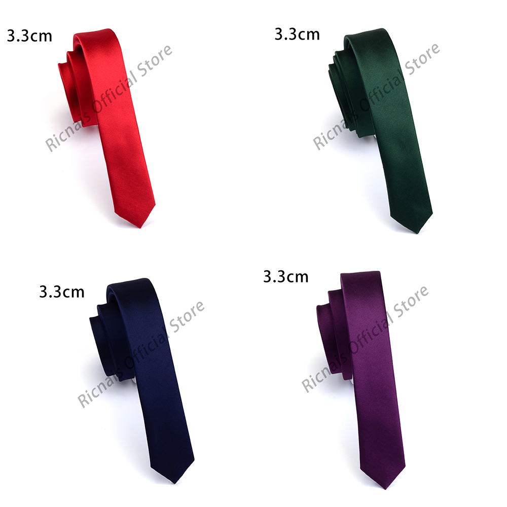 Ricnais Fashion 3.3cm Slim Silk Tie Red Green Solid Skinny Necktie For Men Party Wedding Casual Neck Ties Accessories Gifts