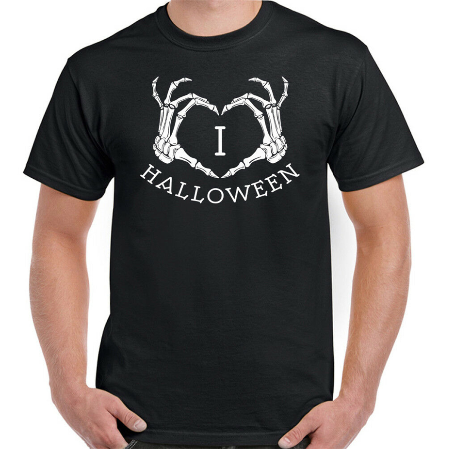 I Love Halloween Mens Funny T-Shirt Costume Outfit Skull Biker Skeleton Spooky Digital Printed Tee Shirt
