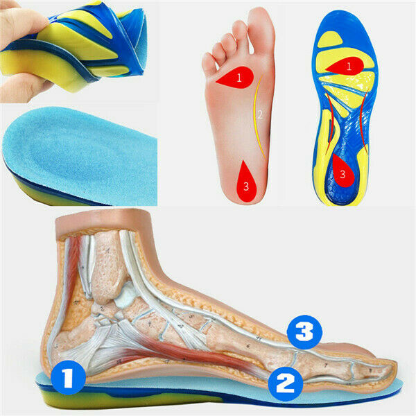 Silicone Sport Plantar Spur Gel Cushion Insole Massage Foot Pad Foot Care USA