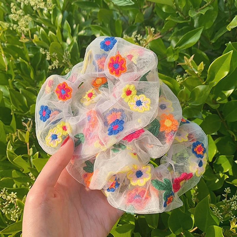 NEW Mesh Embroidery Flower Scrunchie Women Girls Elastic Hair Rubber Bands Hair Ties Ring Rope Ponytail Holder Headdress Braider