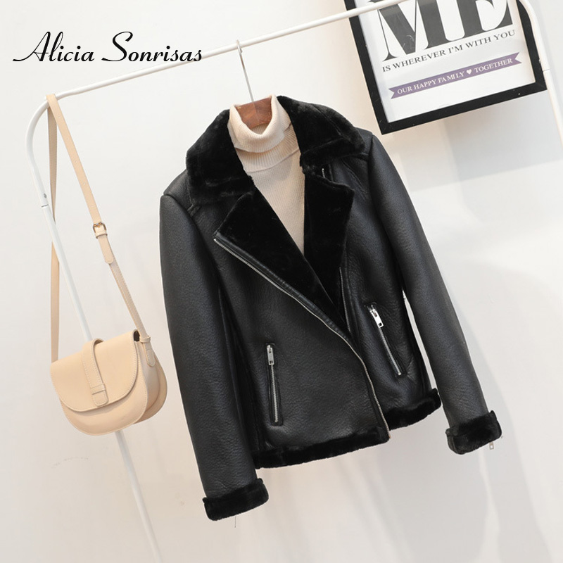 Winter Black Faux Sheepskin Shearling Coat New PU Leather Warm Motorcycle Street Coat Long Sleeve Biker Coats AS1333
