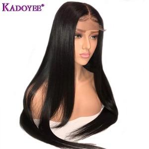 Image 2 - ברזילאי פאה ארוך קצר בוב ישר תחרה מול שיער טבעי פאות אמצע חלק מראש קטף מולבן קשרים רמי שיער פאה עבור נשים