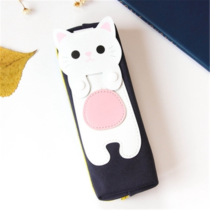 Kawaii Cute Cat Canvas Pencil Case Storage Organizer Pen Bags Pencilcase Pouch School Supply Stationery Cosmetic Makeup Bag Gift (53)