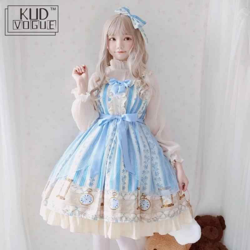 Japanese Sweet Kawaii Jsk Lolita Dress For Girl Cute Blue Printing Bowknot Vintage Victorian Women Clothes Princess Party Dress